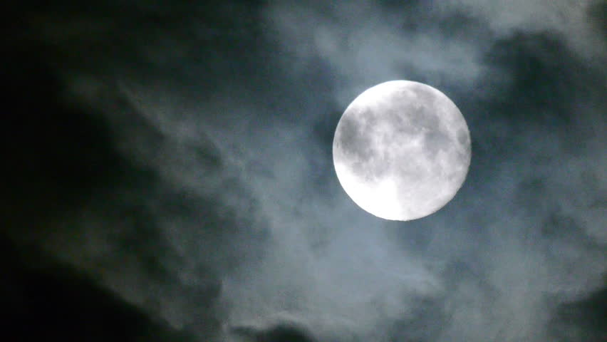 Full moon at night with cloud real no CG - HD stock video clip