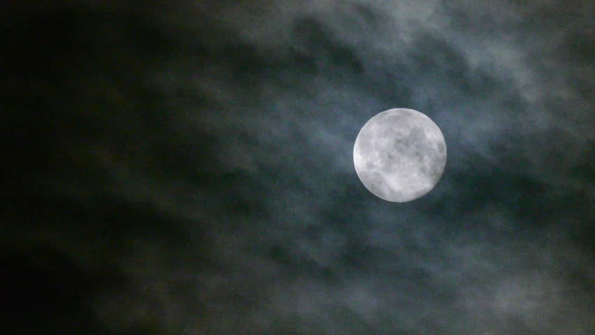 Full moon at night with cloud real no CG - HD stock footage clip