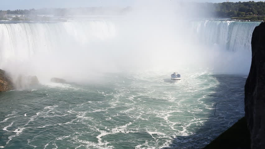 The Maid Of The Mist Tourist Boat Taking Tourists Close Into The Mist Of The Horseshoe Falls In Niagara Falls, Ontario, Canada