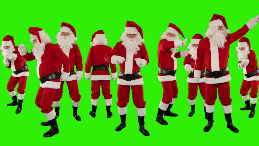 Bunch of Santa Claus Dancing, Christmas Holiday Background, Green Screen | Shutterstock HD Video #4141801