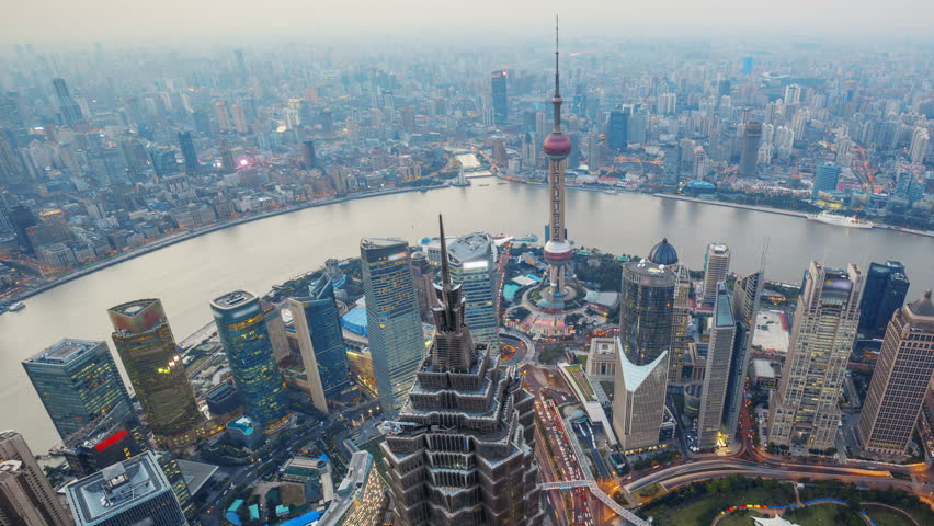 "Shanghai From Day to Night, Time Lapse(Pan).  Aerial view of high-rise buildings with Huangpu River in Shanghai, China.  -Original Size 4k (4096x2304).  - (Please search similar: "" OverlookShanghai """
