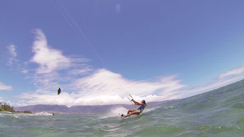 Kite Boarding, Fun in the ocean, Extreme Sport HD Video | Shutterstock HD Video #4167289