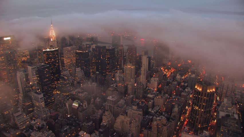 New york city skyline at night time lapse. foggy storm clouds. NYC. skyline | Shutterstock HD Video #4169998