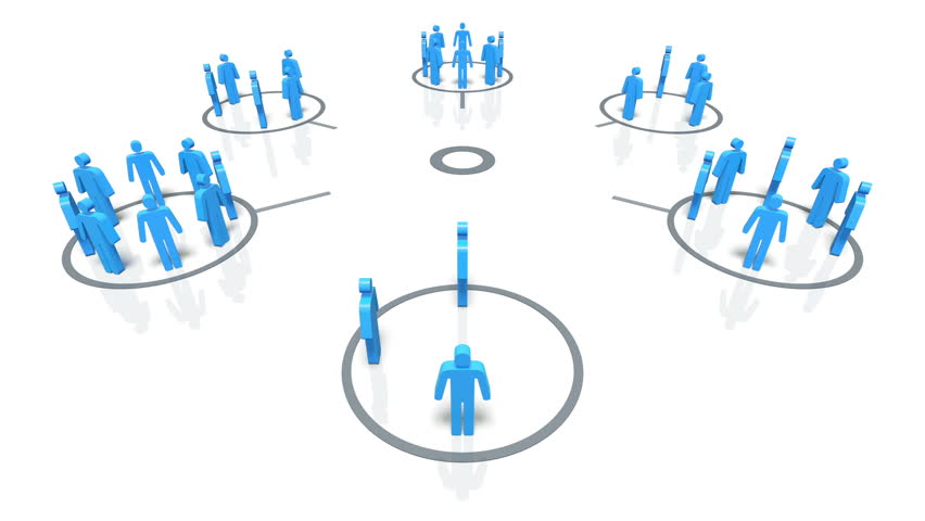 A concept graphic depicting  a group of people in a social group. Rendered against a white background with a soft shadow. - HD stock video clip