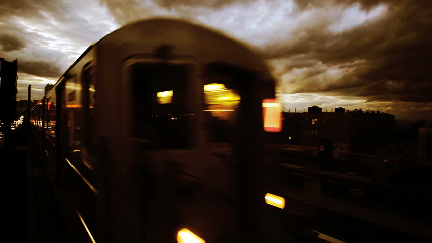 New York City Subway at Twilight with Stormy Clouds