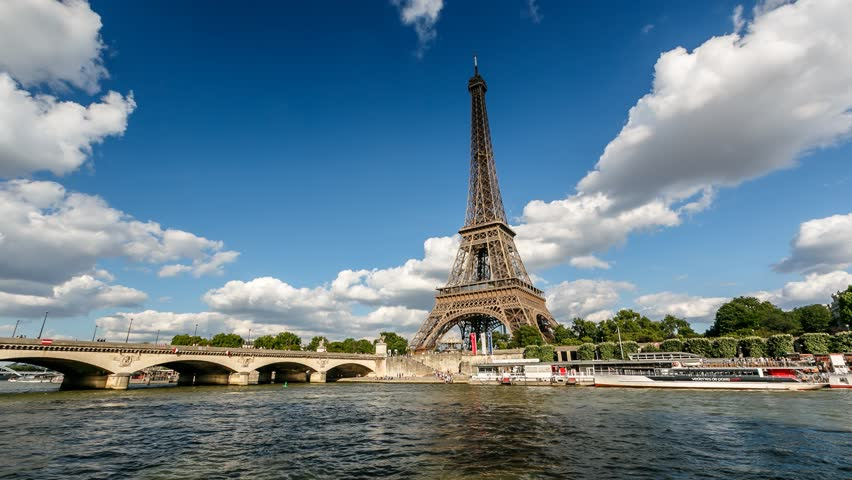 PARIS, FRANCE - JUNE 30: Eiffel Tower Timelapse Video on June 30, 2013 in Paris, France. The tallest structure in Paris and the most-visited paid monument in the world, 320 meters tall, built in 1889. | Shutterstock HD Video #4194172