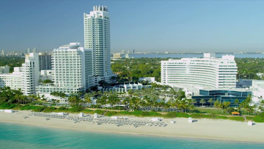 Aerial view Miami Beach vacation resort hotels and condominiums, Miami, Florida, USA,  - HD stock video clip