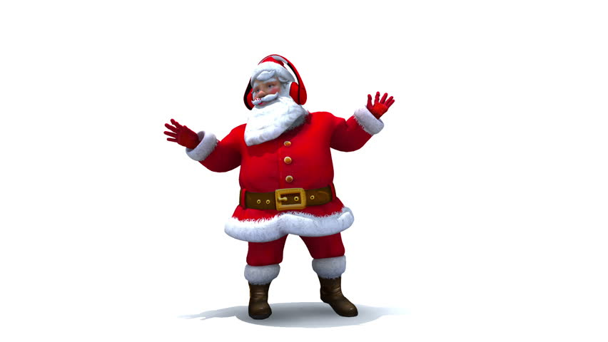 Santa Dancing with headphones and Music notes