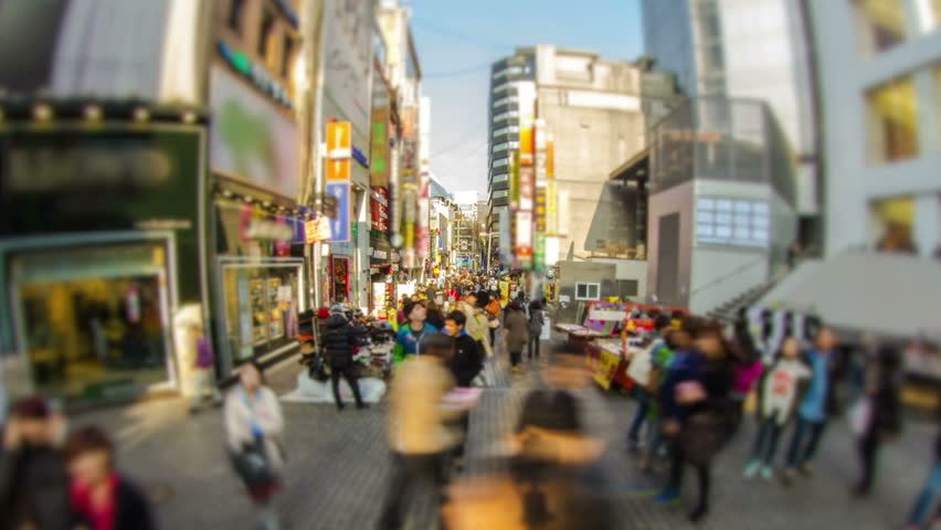 Seoul City Myeong-dong Crowded Shopping