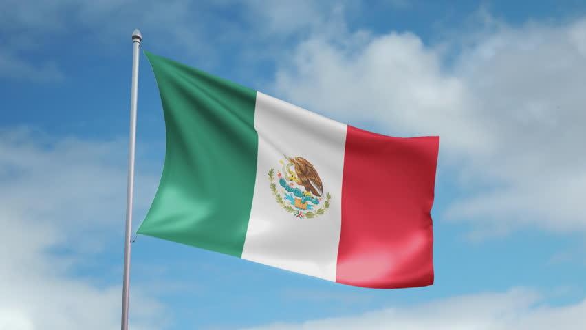 Mexican American Flag Waving