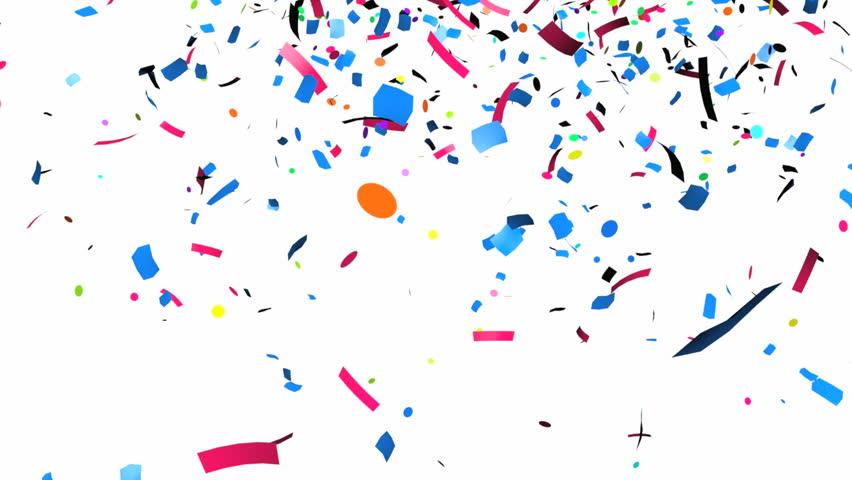 Animation of colorful confetti falling - HD stock footage clip