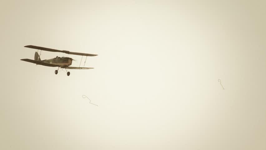 Flying vintage combat biplane in air