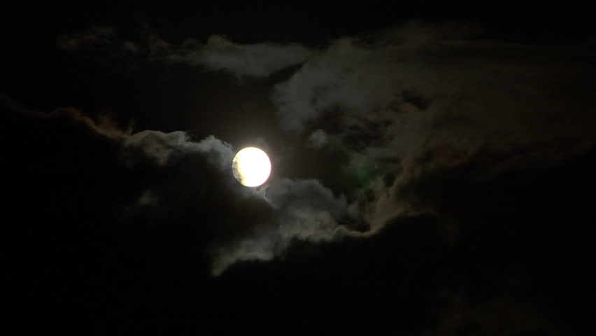 Full glowing moon on cloudy foggy night sky time lapse - HD stock footage clip