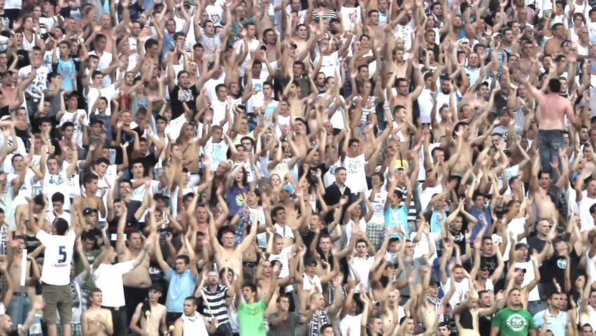 RIJEKA, CROATIA JULY 28: soccer fans on derby soccer match NK Rijeka (white) vs. NK Dinamo (blue) on July 28, 2013 in Rijeka.