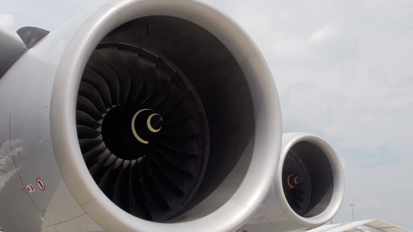Jet Engine Air Conditioner : Spinning fan closeup animation can represent air