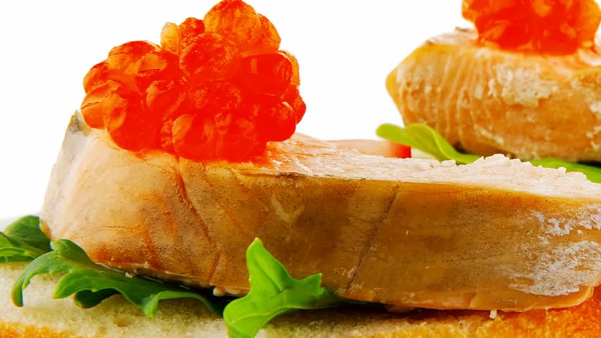 small salmon sandwiches served with caviar and olives 1920x1080 intro motion slow hidef hd