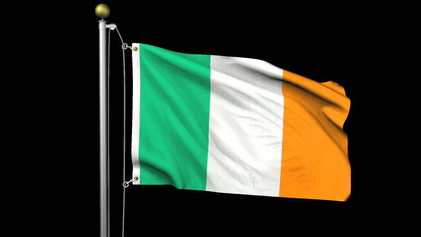 flag of ireland waving in the wind with flagpole