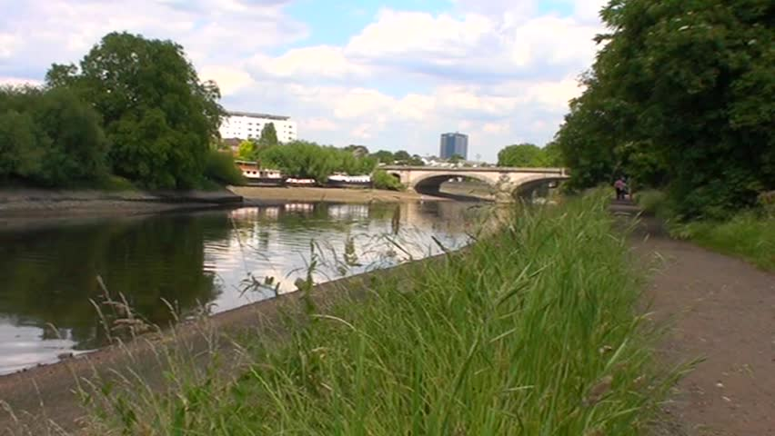 Kew Bridge over River Thames, Middlesex, London - SD stock footage clip