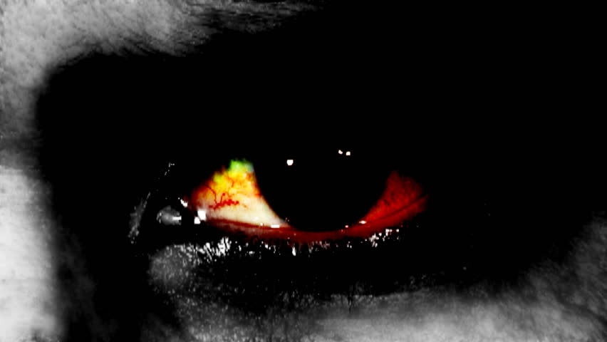 zombie or monster eye with blood