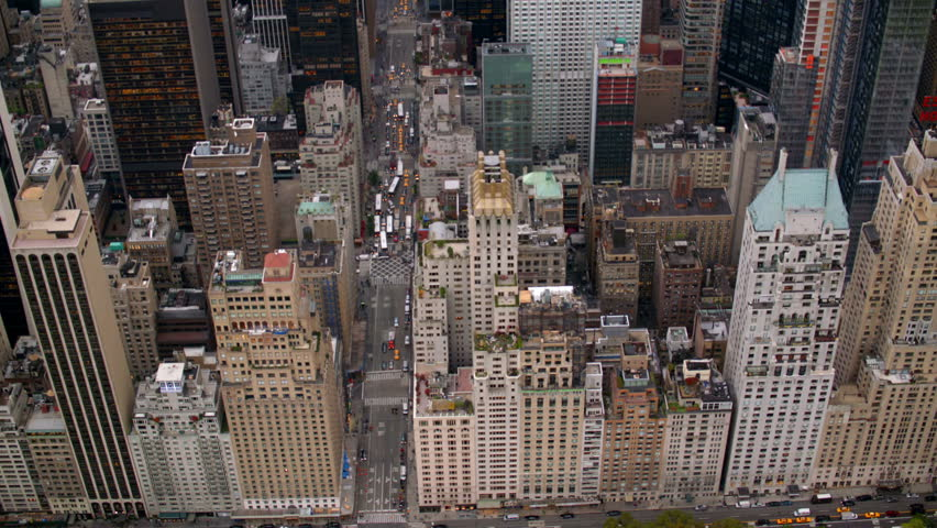 New York City buildings, overhead aerial shot