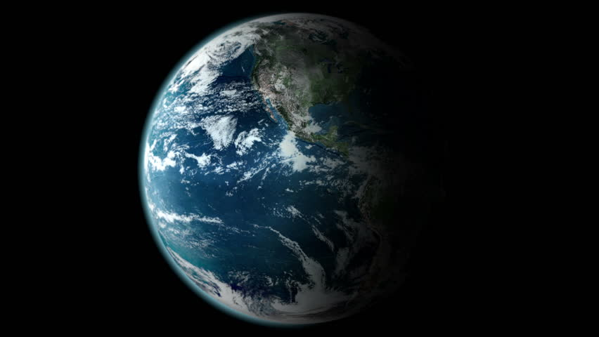 Earth Rotating, The World Spinning, Full Rotation, Seamless Loop - Realistic Planet Turning 360 Degrees
