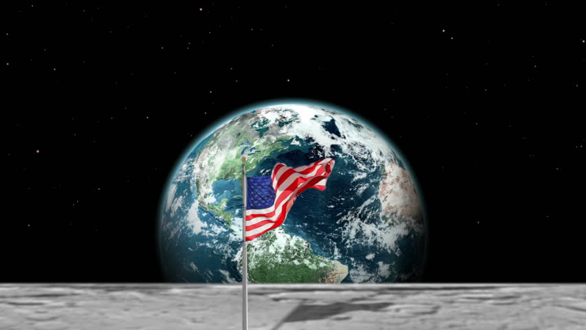 Picture of american flag on moon from earth
