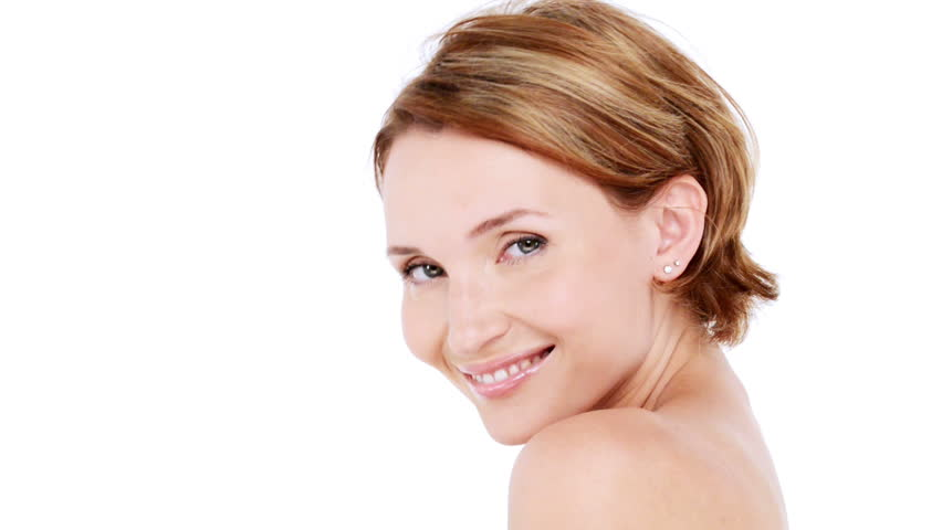 Beautiful healthy smiling woman with fresh  skin of face over white background. Full hd footage 1920x1080 - HD stock footage clip