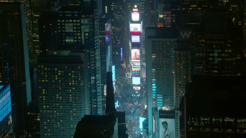 Aerial shot of Times Square, night