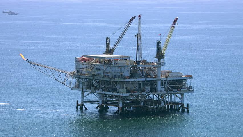 Aerial shot of off shore oil platform