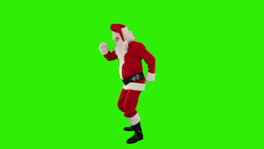 Santa Claus Dancing isolated, Dance 4, Green Screen - HD stock video clip