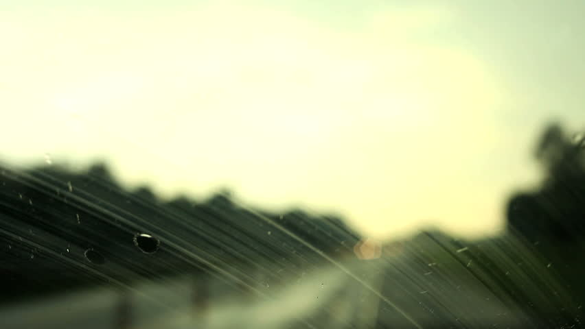 Car driving and Rain drops on the glass - HD stock video clip