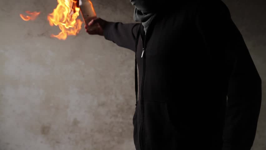Man Black Mask Robber Burglar Lighting Molotov HD