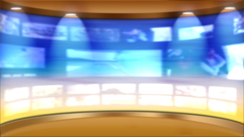 Virtual TV studio news set with multiple background monitors playing and animated main monitor