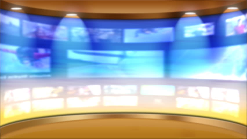 Virtual TV studio news set with multiple background monitors playing seamless loop