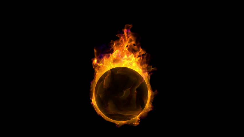 burning ball, beautiful tongues of fre and flame, high-detail simulation with alpha (HD, seamless loop)