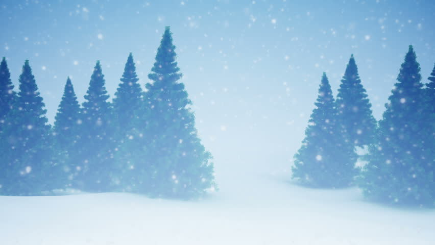 Snow and Christmas trees. HD 1080. Seamless loop