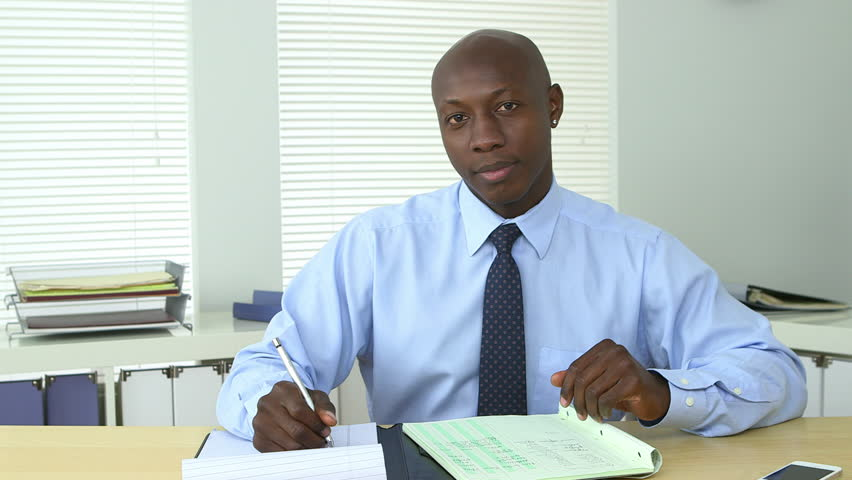 African American business man talking directly to camera