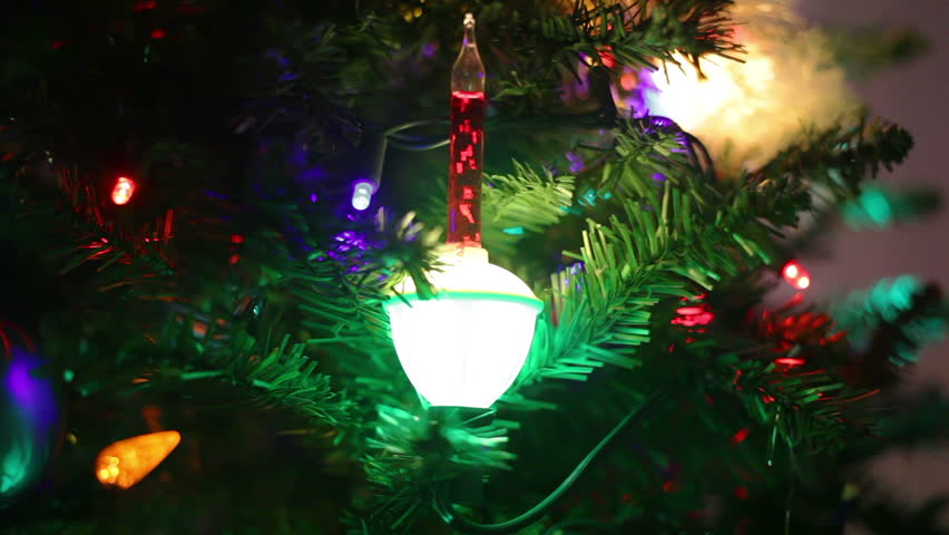 Closeup Of A Christmas Tree, Focusing On The Bubble Lights