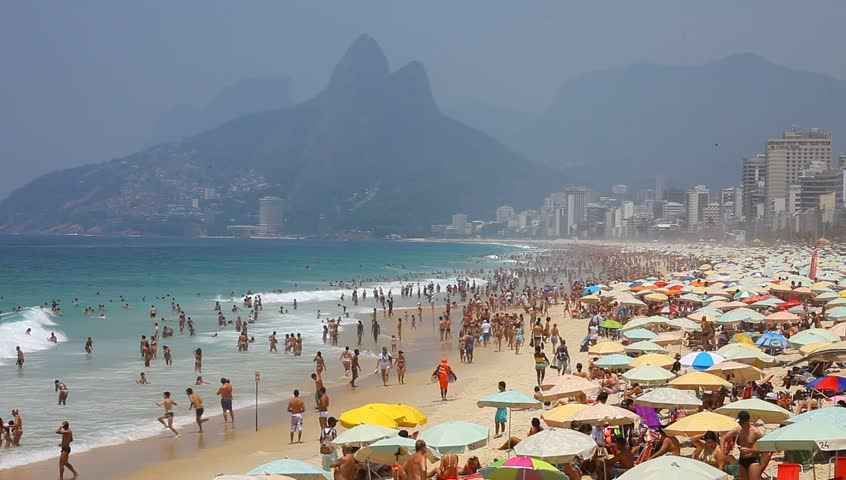 Ipanema Brazil- summer 2013: Ipanema beach, important point of sports in Rio de Janeiro. - HD stock footage clip