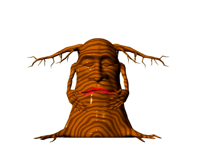 Cartoon animation Mr. Tree is asleep, wakes up yawns goes back to sleep. Clean white background. Easy editing
