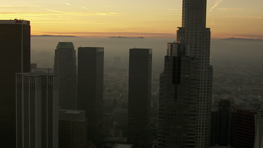 Los Angeles, California, USA - March 22, 2012: Aerial view of Los Angeles skyscrapers at dusk