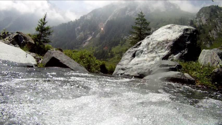 underwater camera in mountain stream