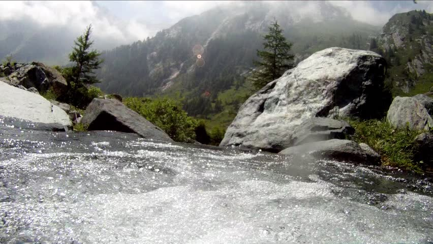 underwater camera in mountain stream