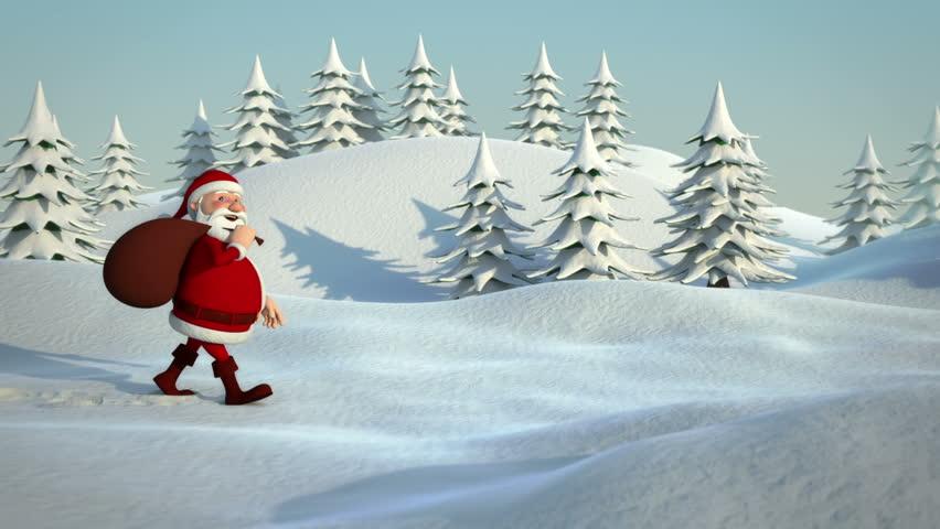 cartoon santa claus walking through snowy landscape - high quality 3d animation