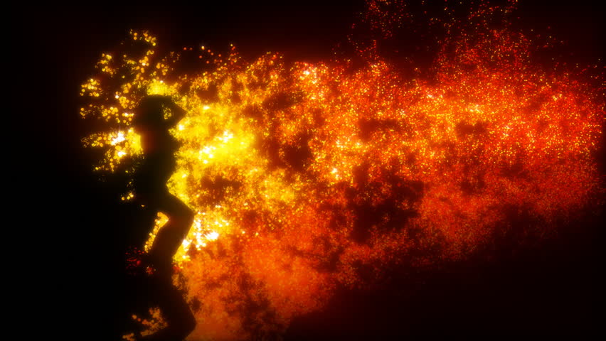 Sexy girl dancing with fire, HD1080p  - HD stock footage clip