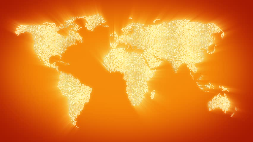 Numbers and symbols form the world map, gold tint.  More symbols and color backgrounds available - check my portfolio. - HD stock footage clip