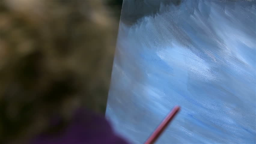 Artist hand with huge brush while painting - HD stock video clip