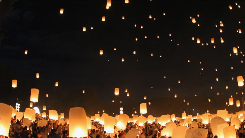 Floating lanterns in Yee Peng Festival, Loy Krathong celebration in Chiangmai, Thailand.