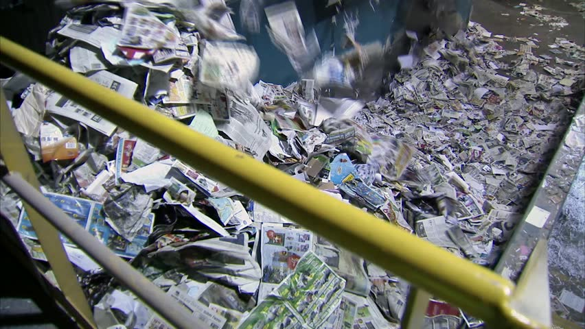 Pile of sorted paper in an Ottawa Recycling Plant. (Tilt)