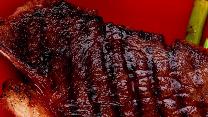meat table : rare medium roast beef fillet asparagus served on red dish 1080p 1920x1080 intro motion slow hidef hd